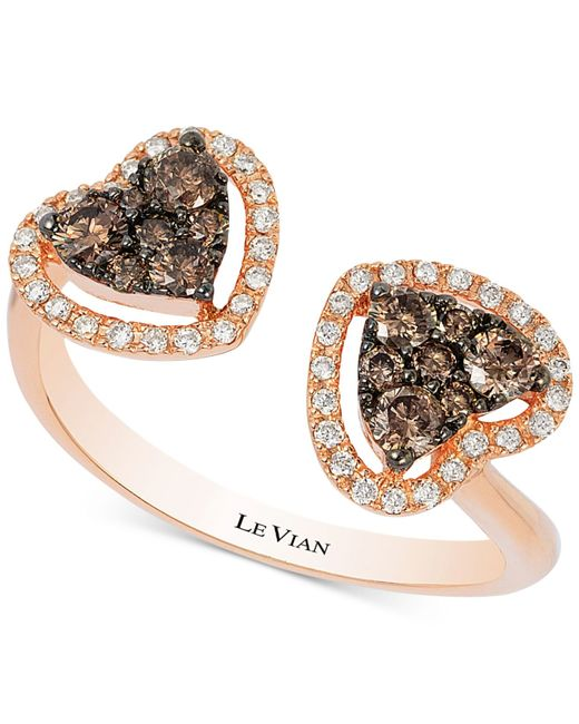 Le Vian | Metallic Chocolatier® Chocolate Deco Estate™ Diamond Double Heart Open Ring (1/2 Ct. T.w.) In 14k Rose Gold | Lyst