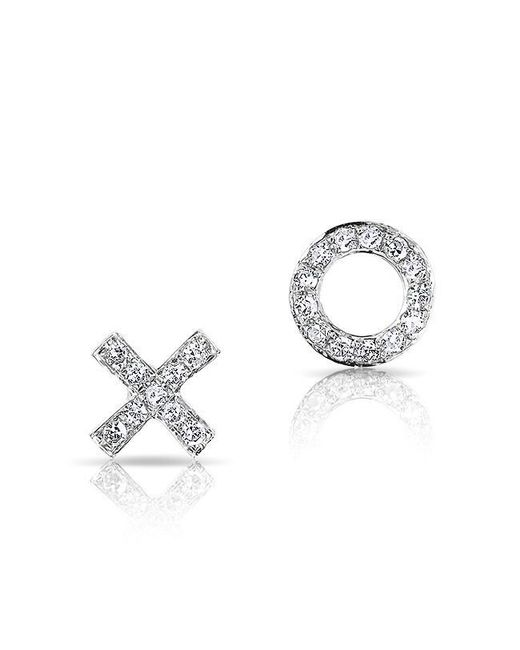 Anne Sisteron | Metallic 14kt White Gold Diamond Mini Xo Stud Earrings | Lyst