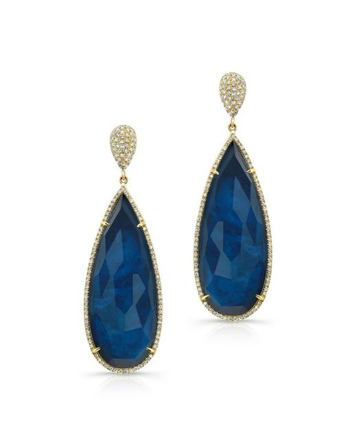 Anne Sisteron | Blue 14kt Yellow Gold Dark Azul Diamond Earrings | Lyst