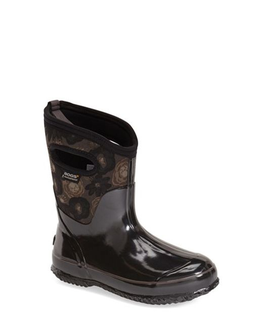 Bogs | Black 'watercolor' Mid High Waterproof Snow Boot With Cutout Handles | Lyst