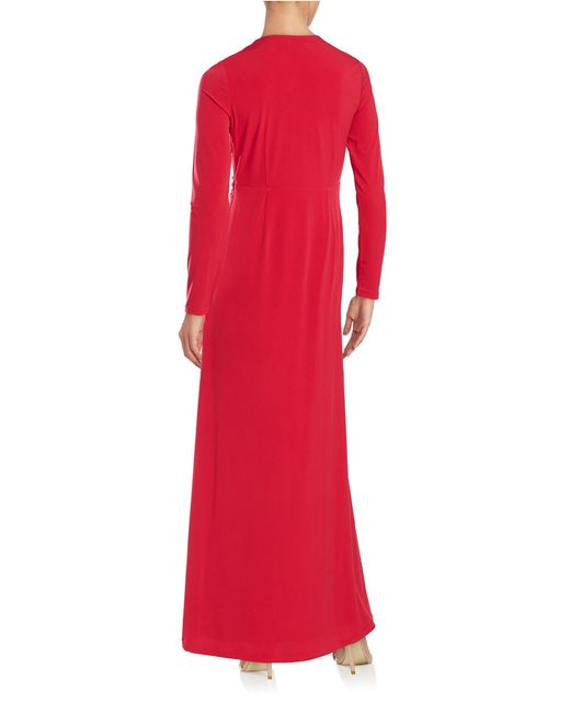 Calvin Klein | Red Draped Surplice Gown | Lyst