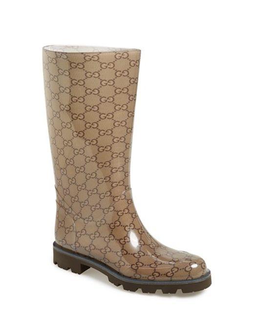 Gucci | Brown 'edimburg Gg' Rain Boot | Lyst