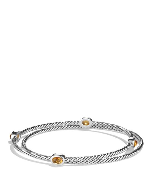 David Yurman | Metallic Petite Wheaton Bracelet With Amethyst And Diamonds | Lyst