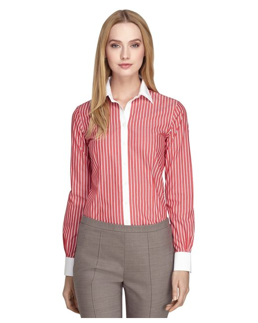 Brooks Brothers | Non-iron Tailored Fit Wide Stripe Dress Shirt | Lyst