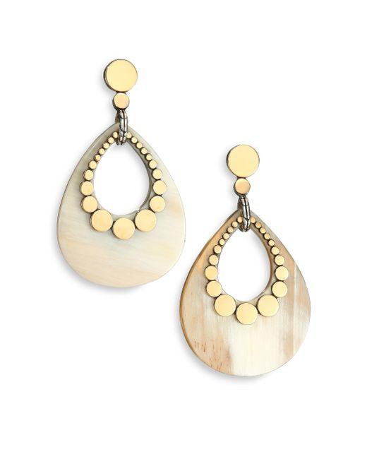 John Hardy | Metallic Dot Buffalo Horn, 18k Yellow Gold & Sterling Silver Teardrop Earrings | Lyst