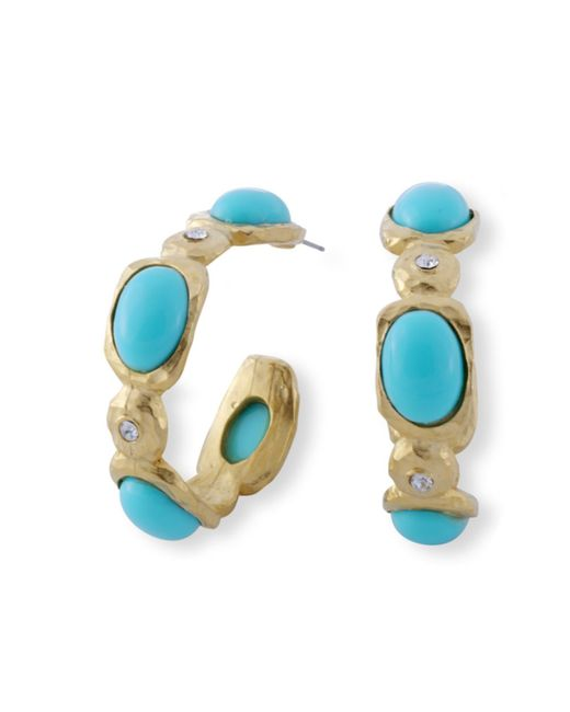 Kenneth Jay Lane | Blue Turquoise Cabochon Hoop Earring | Lyst