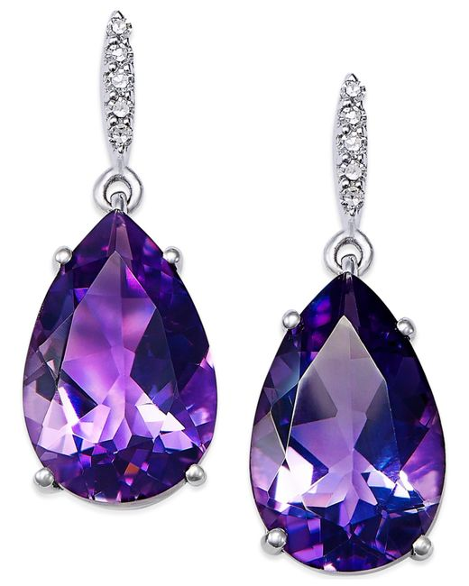 Macy's | Metallic Amethyst (7-1/4 Ct. T.w.) And Diamond Accent Drop Earrings In Sterling Silver | Lyst