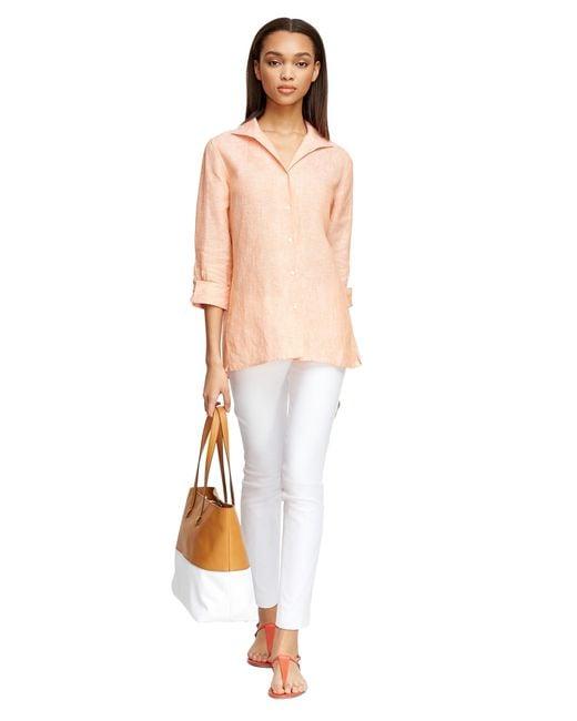 Brooks Brothers | Orange Three-quarter Sleeve Linen Shirt | Lyst