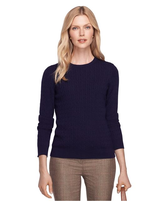Brooks Brothers | Blue Cashmere Cable Knit Crewneck Sweater | Lyst