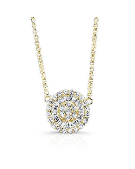 Anne Sisteron | Metallic 14kt Yellow Gold Baguette Diamond Disc Necklace | Lyst