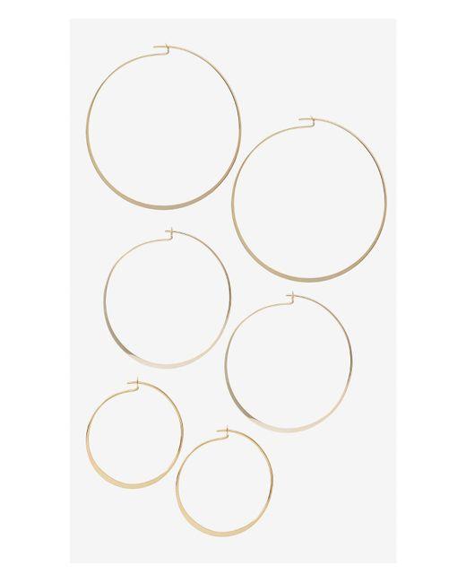 Express | Metallic Set Of Three Flat Hoop Earrings | Lyst