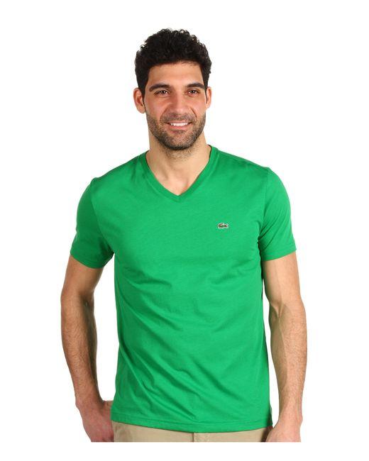 lacoste ss pima jersey vneck tshirt in green for men