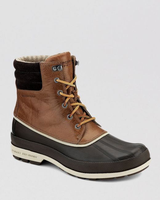 sperry top sider cold bay waterproof boots in brown for