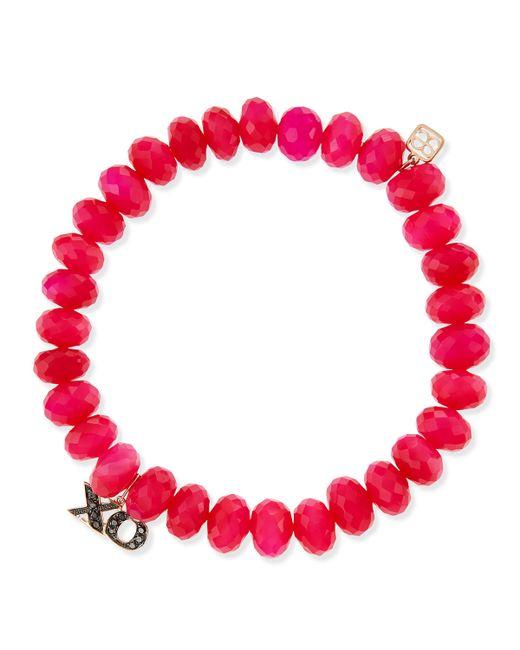 Sydney Evan | Diamond, Hot Pink Chalcedony & 14k Yellow Gold Beaded Bracelet | Lyst