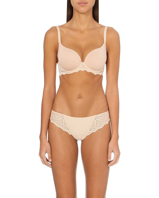 Simone Perele | Pink Caresse Jersey And Stretch-lace Underwired Plunge Bra | Lyst