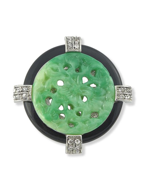 Kenneth Jay Lane | Green Jade Art Deco Circle Brooch | Lyst