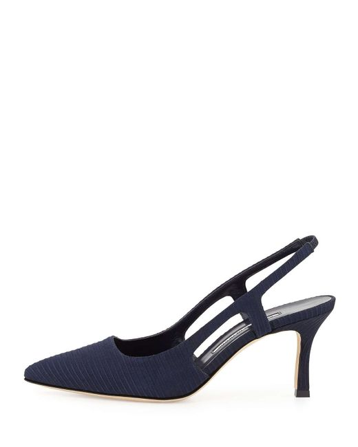 Manolo Blahnik | Blue Bretto Textured Leather Pumps | Lyst