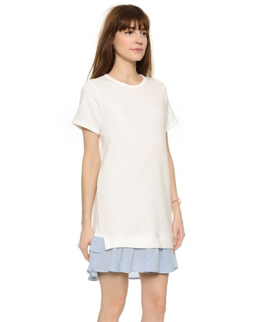 CLU | White Short Sleeve Sweatshirt Dress With Ruffle | Lyst