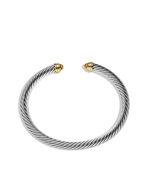 David Yurman | White Cable Classics Bracelet With Citrine And 14k Gold, 5mm | Lyst