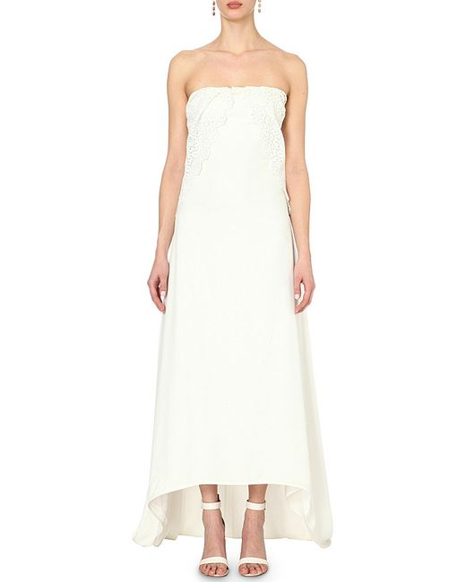 Self portrait isabella floral guipure overlay silk gown in for Self portrait wedding dress