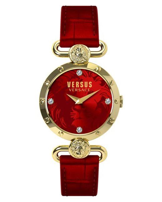 Versus | Red 'sunnyridge' Leather Strap Watch | Lyst