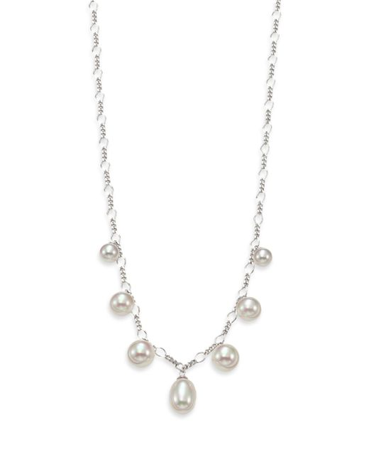 Majorica | Metallic Rain 6mm-9mm White Pearl & Sterling Silver Charm Necklace | Lyst