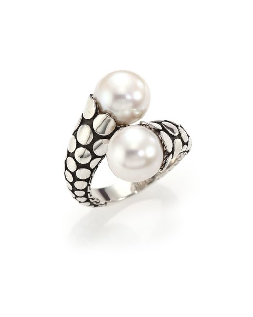 John Hardy | Metallic Dot 11mm White Pearl & Sterling Silver Toi-et-moi Ring | Lyst