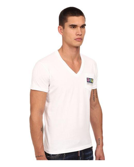 Dsquared logo pocket v neck t shirt in white for men for Men s v neck pocket tee shirts
