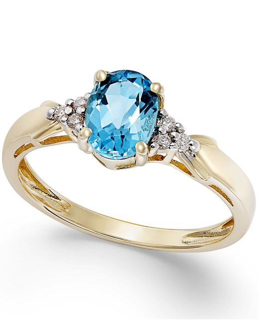 Macy's | Metallic Blue Topaz (3/4 Ct. T.w.) And Diamond Accent Ring In 10k Gold | Lyst