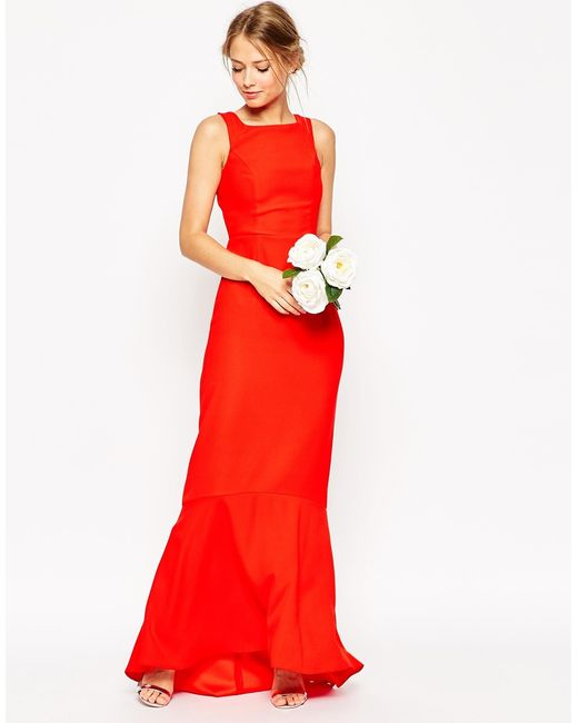ASOS | Wedding Maxi Dress With Fishtail Hem - Red | Lyst