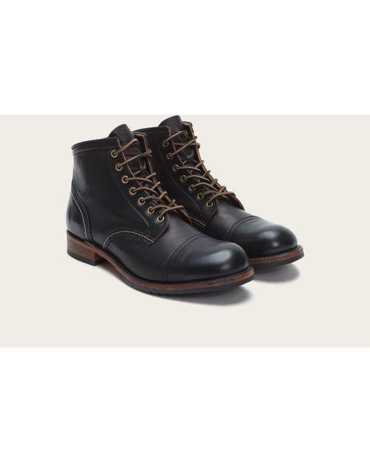 Frye | Black Logan Cap-Toe Leather Boots  for Men | Lyst