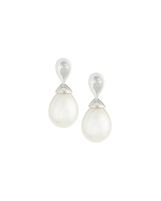 Majorica | White Pearl & Crystal Drop Earrings | Lyst