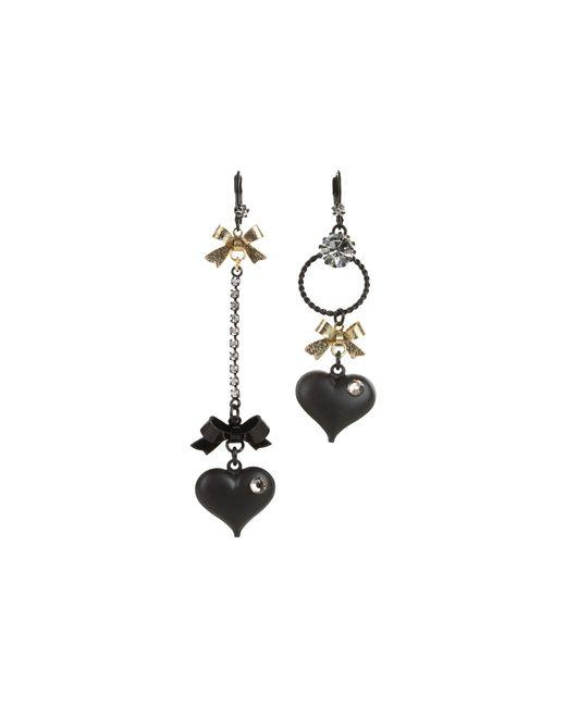 Betsey Johnson | Black Heart/ Bow Drop Earrings | Lyst