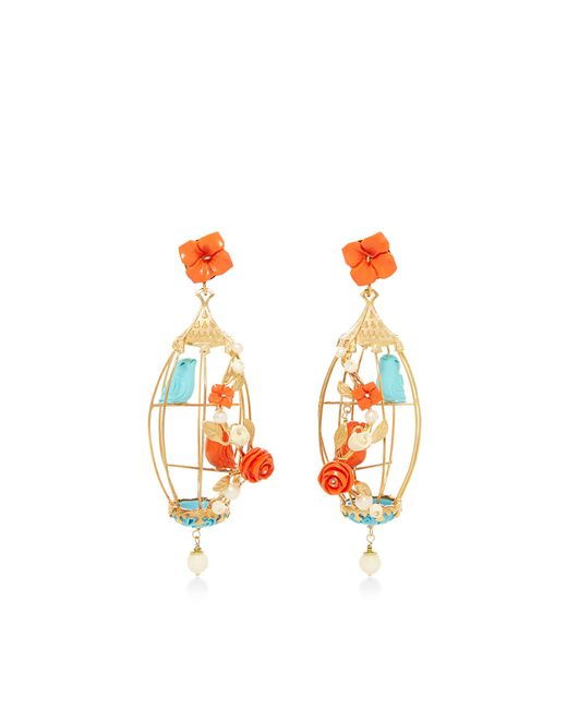 Of Rare Origin | Multicolor Lovebirds Coral, Turquoise, Bone & Freshwater Pearl Drop Earrings | Lyst