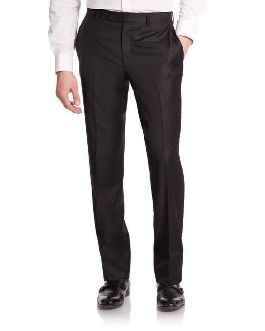 Saks Fifth Avenue | Black Wool Dress Pants for Men | Lyst