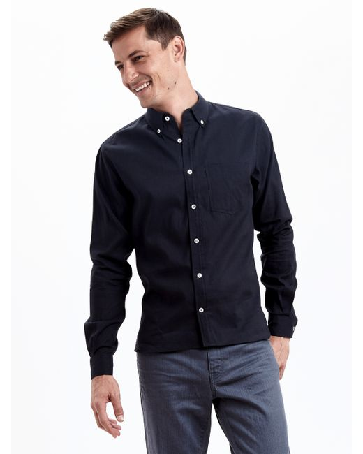 Zady navy organic long staple button down in blue for men for Organic cotton button down shirts