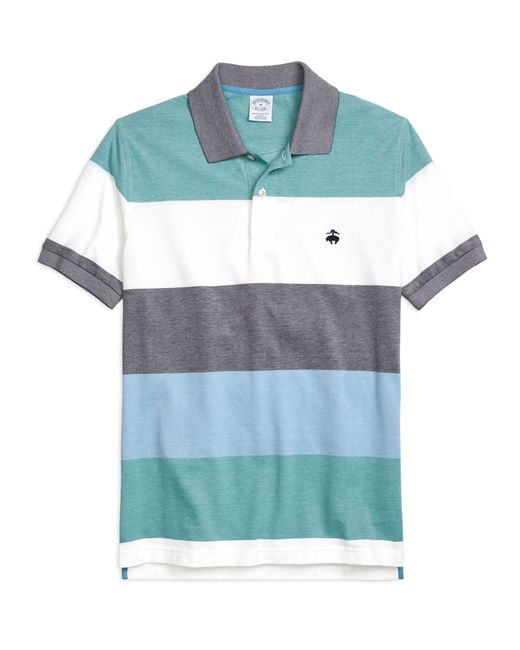 Brooks Brothers | Blue Slim Fit Engineered Wide Stripe Polo for Men | Lyst