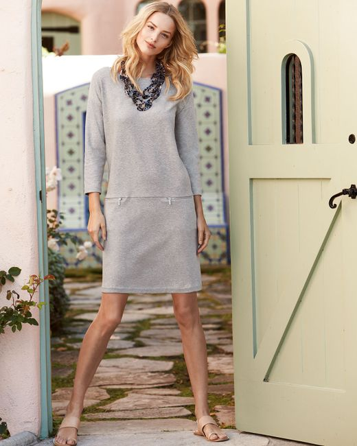 Joan Vass Knit Zip-pocket Shift Dress In Gray