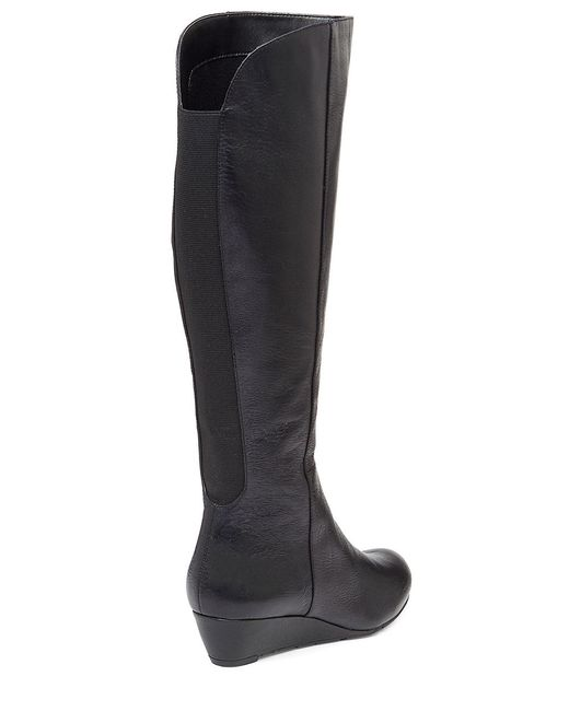 Jessica Simpson   Black Bafford Faux Leather And Elastic Knee-high Wedge Boots   Lyst