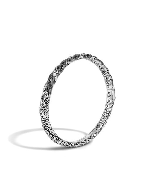 John Hardy | Metallic Twisted Chain Hinged Bangle With Black Sapphire | Lyst