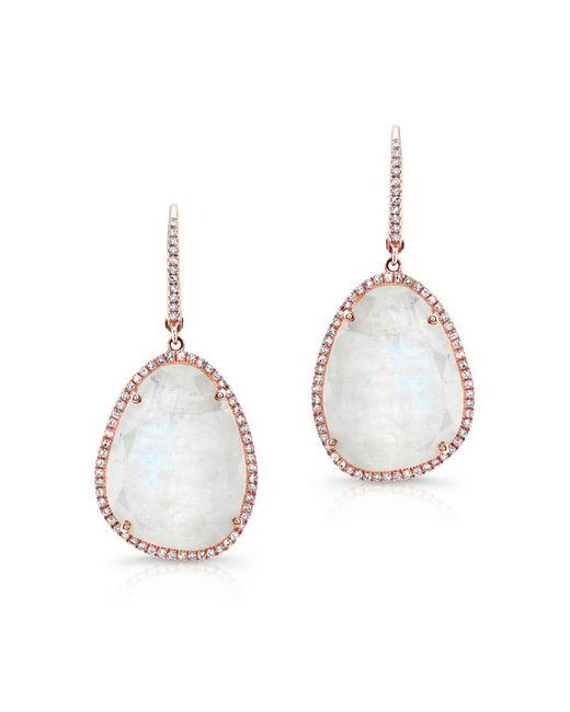 Anne Sisteron | Pink 14kt Rose Gold Organic Moonstone Diamond Earrings | Lyst