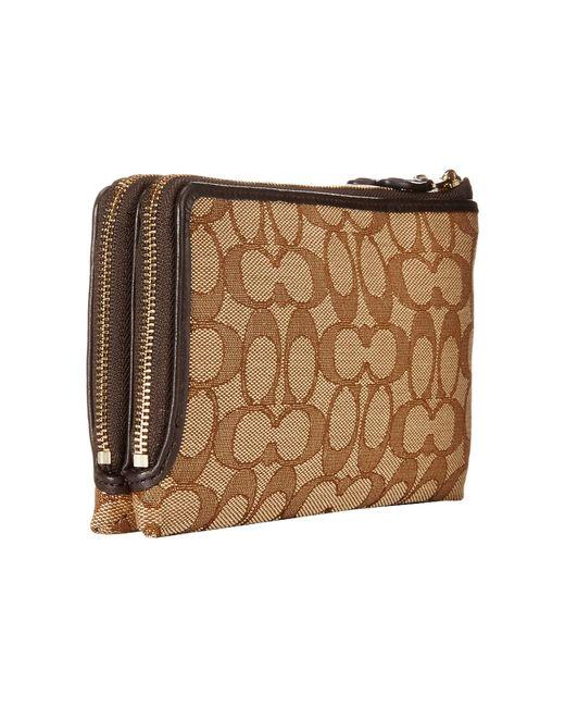 COACH | Brown Signature Double Zip Wallet | Lyst