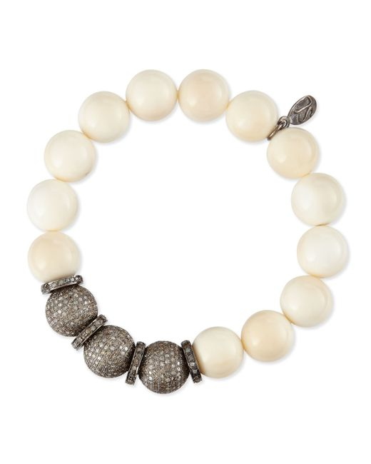 Sheryl Lowe | Natural 12mm Bone & Triple Pave Diamond Beaded Bracelet With Rondelles | Lyst