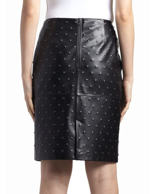 lanvin studded leather pencil skirt in black lyst
