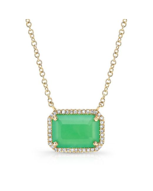Anne Sisteron - Green 14kt Yellow Gold Chrysoprase Diamond Chic Necklace - Lyst