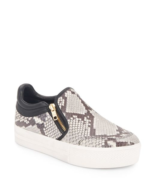 Ash | Gray Jordy Stamped Leather Slip-on Sneakers | Lyst