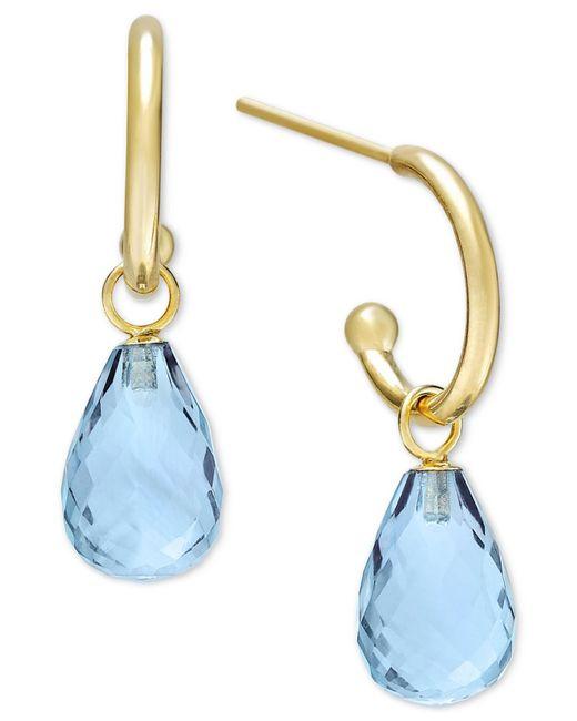 Macy's | Metallic Blue Topaz Hoop Earrings In 14k Gold (8 Ct. T.w.) | Lyst