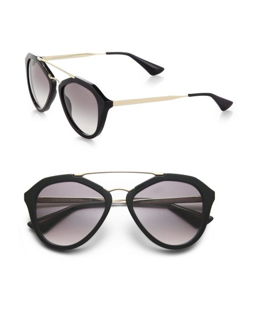 Prada | Black 54mm Mirrored Aviator Sunglasses | Lyst