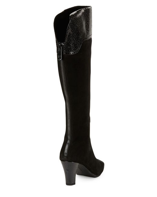bandolino viet wide calf suede boots in black lyst