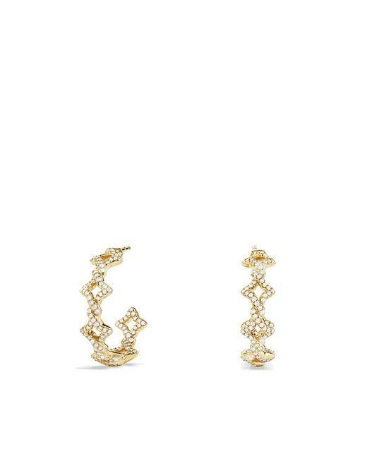 David Yurman | Metallic Venetian Quatrefoil Hoop Earrings With Diamonds In Gold | Lyst